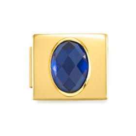 GLAM Gold Blue Faceted Oval CZ Charm
