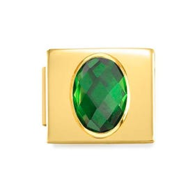 GLAM Gold Green Faceted Oval CZ Charm