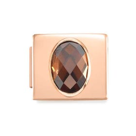 GLAM Rose Gold Champagne Faceted Oval CZ Charm
