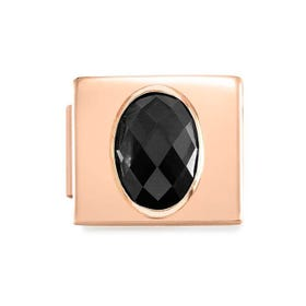 GLAM Rose Gold Black Faceted Oval CZ Charm