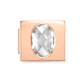 GLAM Rose Gold Faceted Oval CZ Charm