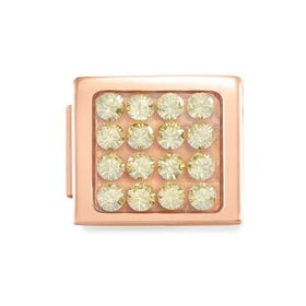 GLAM Rose Gold Pave Champagne Crystal Charm