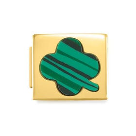 GLAM Gold Malachite Lucky Clover Charm