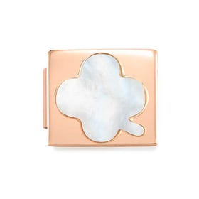 GLAM Rose Gold Mother of Pearl Lucky Clover Charm