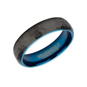 Tungsten Carbide Hammered 6mm Ring with Black Plating