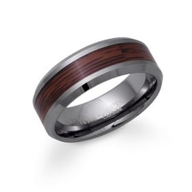 Tungsten 8mm Ring with Wood Inlay