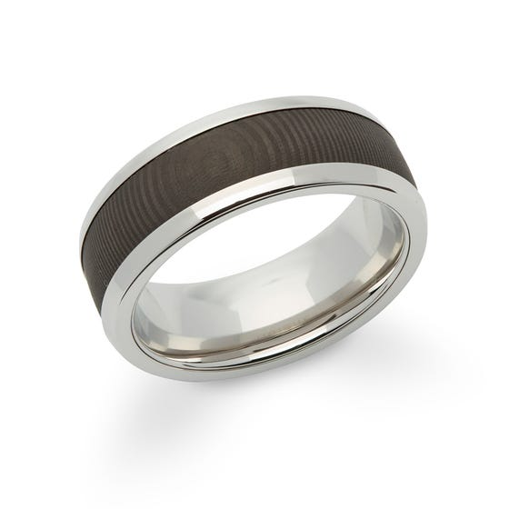 Steel 8mm Ring with Carbon Fibre