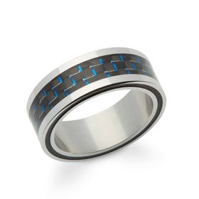 Steel 8mm Ring with Blue Carbon Fibre Detail