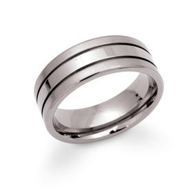 Titanium Double Groove 8mm Ring