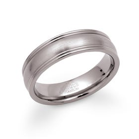 Titanium Matte 6mm Ring with Ridged Detail
