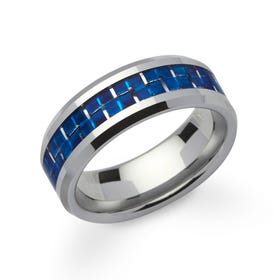 Tungsten Carbide 8mm Ring with Blue Carbon Fibre