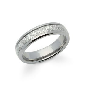 Tungsten Carbide 6mm Ring with Meteorite Paper Inlay