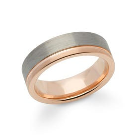 Tungsten Carbide 7mm Ring with Rose Gold Plating