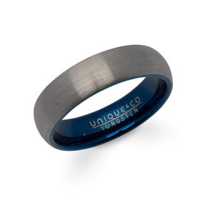 Tungsten Carbide 6mm Ring with Blue Plating