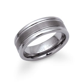 Tungsten Grooved 8mm Carbide Ring