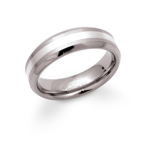 Titanium 6mm Ring with Silver Detail