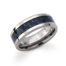 Tungsten Carbide 8mm Ring with Blue & Black Carbon Fibre