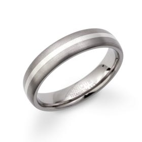 Titanium & Silver Inlay Ring 5mm