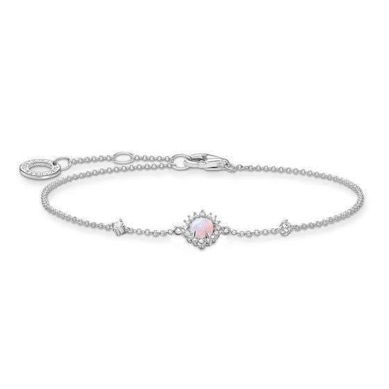 Silver Pink Opal Effect Vintage Bracelet
