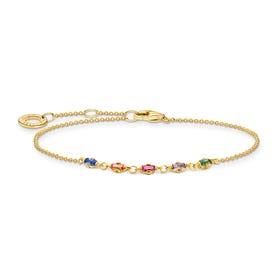 Gold Plated Colourful Baguette Stones Bracelet