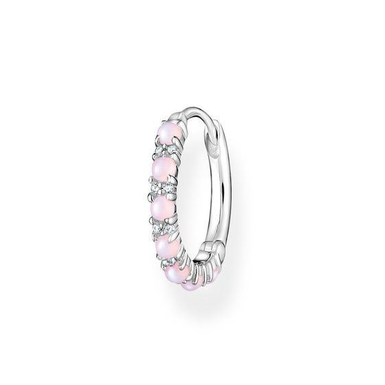 Silver Pink Opal Effect Single Hoop Earring