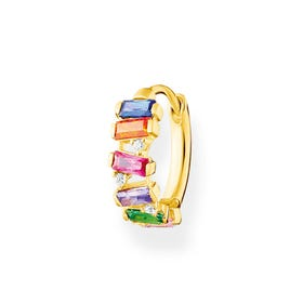 Gold Plated Colourful Baguette Stones Single Hoop Earring