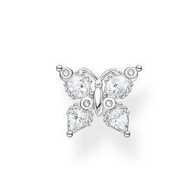 Silver CZ Butterfly Single Ear Stud