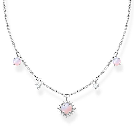 Silver CZ Pink Opal Effect Vintage Necklace