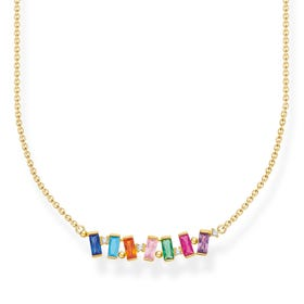 Gold Plated Colourful Dancing Baguette Stones Necklace