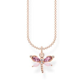 Rose Gold Plated Pink Dragonfly Necklace