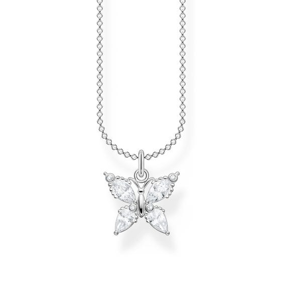 Silver CZ Butterfly Necklace