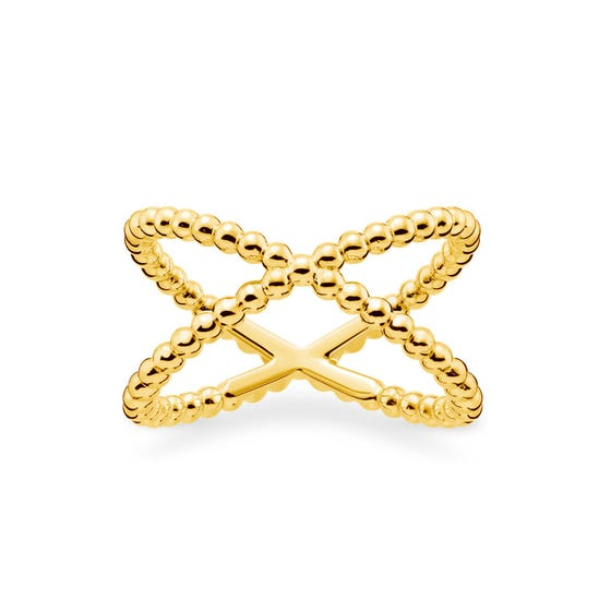 Gold Plated Dots Twist Ring
