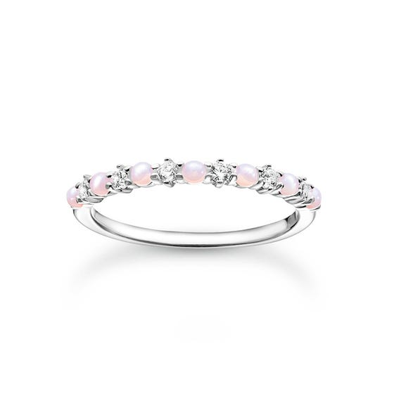 Silver CZ Pink Opal Effect Filigree Ring
