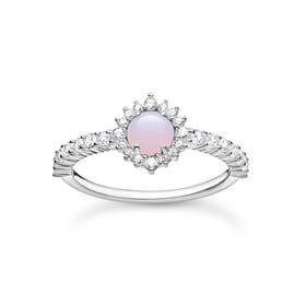Silver Pink Opal Effect Vintage Ring