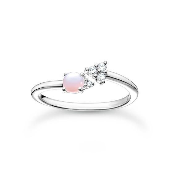 Silver Pink Opal Effect Arrow Ring