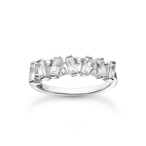 Silver CZ Dancing Stones Ring