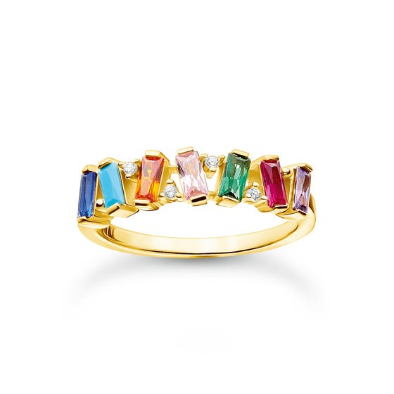 Gold Plated Colourful Dancing Stones Ring