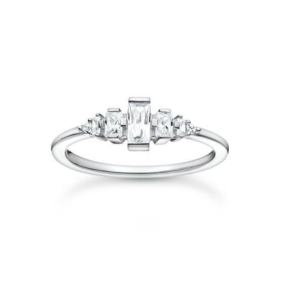 Silver Baguette Stones Vintage Ring