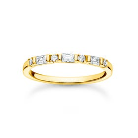 Gold Plated Baguette & Round Stones Ring
