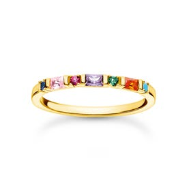 Gold Plated Colourful Baguette & Round Stones Ring