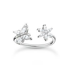 Silver Filigree Butterfly & Flower Open Ring