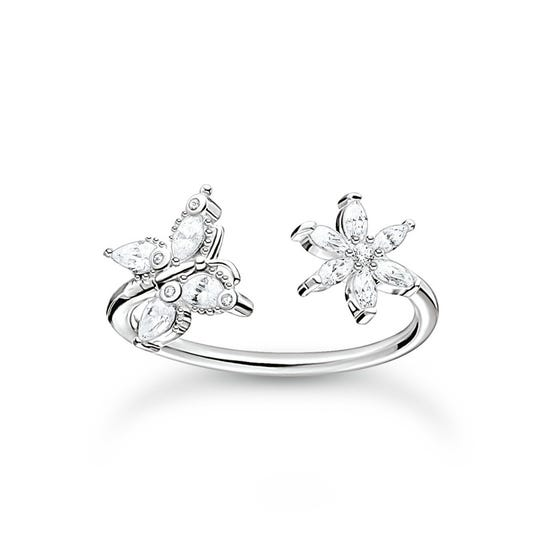 Silver Filigree Butterfly & Flower Open Ring