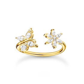 Gold Plated Filigree Butterfly & Flower Open Ring
