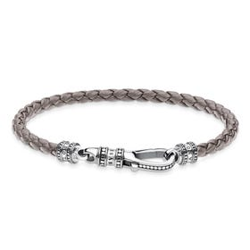 Rebel Braided Grey Leather Lobster Clasp Bracelet