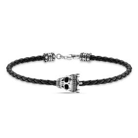 Rebel Skull King Black Leather Bracelet