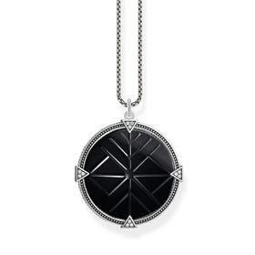 Rebel Silver Vintage Coin Black Onyx Necklace