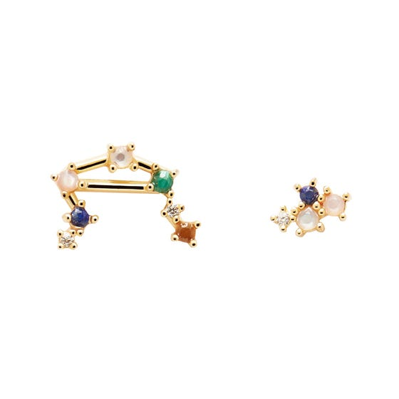 Gold Plated Libra Constellation Earrings