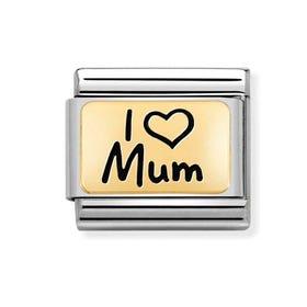 Classic Gold I Love Mum Charm