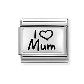 Classic Silver I Love Mum Charm