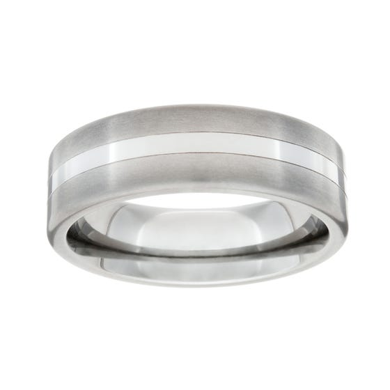 Titanium Polished and Central Stripe 7mm Ring